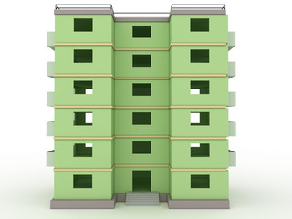 Green high-rise building without windows and doors  №4