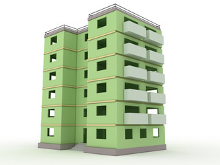 Green high-rise building without windows and doors  №3