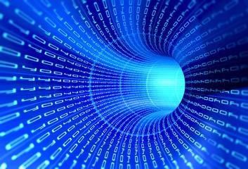 Tunnel binary code - internet concept