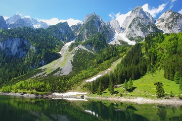 View of Alpine lake Gosausee, Austrian Alps