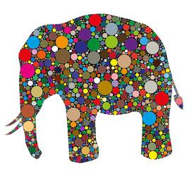 elefante composto da colori