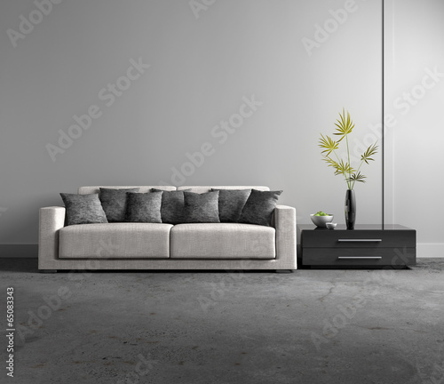canvas print picture Sofa vor grauer Wand