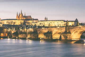 Charles Bridge and Castle in Prague at Dusk