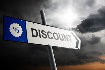 Discount direction. Blue traffic sign.