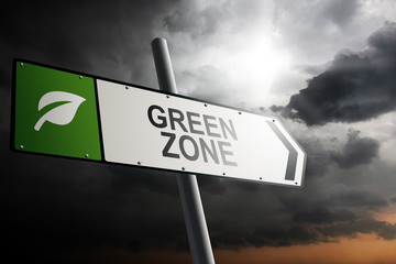 Green Zone direction. Green traffic sign.