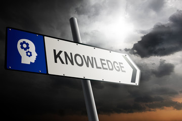 Knowledge direction. Blue traffic sign.