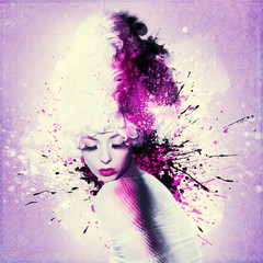 Beautiful woman, Artwork with ink in grunge style