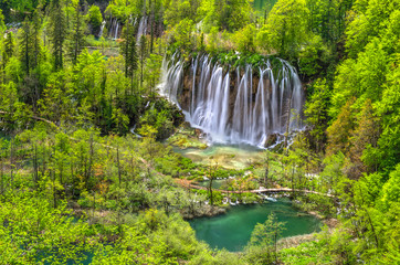 Waterfall at Plitvice Lakes National park in Spring