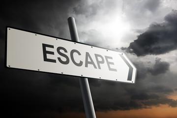 Escape direction. Traffic sign.