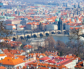 Panoramic View of Prague, Charles Bridge and Vltava