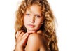 Portrait of pretty little girl with curly hair.