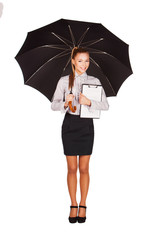 business woman with an umbrella, folder in hands