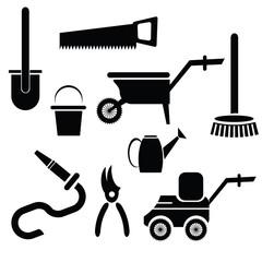 garden tools silhouettes