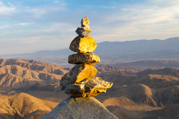 Pile of Stones in Desert Landscape