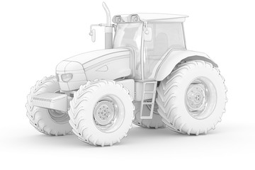Big Tractor II - white isolated
