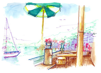 Sausalito pier beautiful illustration, San Francisco, USA