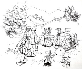 people at ski patrol illustration