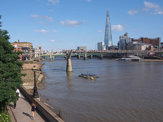London skyline with Thames and footbridge