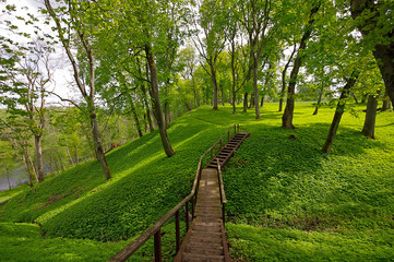 Picture of stairs to the hill in Dubingiai, near Vilnius in Lith