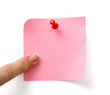 A pink note, isolated on white background