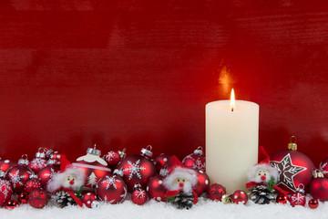 Holz Hintergrund Weihnachten in Rot und Weiß mit Kerze