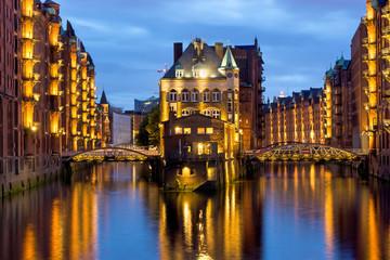 Part of the old Speicherstadt in Hamburg illuminated at night