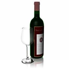 Bottiglia e Bicchiere vino rosso_001