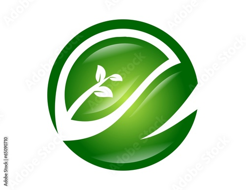 logo leaf symbol global nature health eco icon energy life