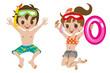 Swimwear Kids Jumping Isolated