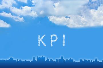 KPI or Key Performance indicator text on cloud