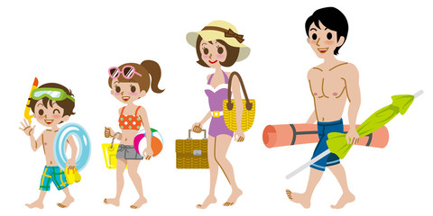 Family wearing Swimwear, Isolated