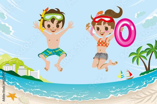 Jumping Kids in Summer Beach