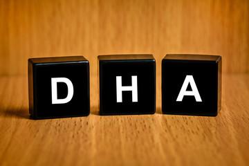 DHA or Docosacexaenoic acid on black block