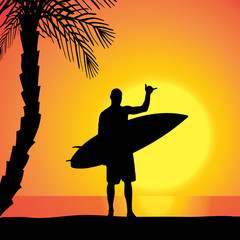 Vector silhouette of a man with a surfboard.