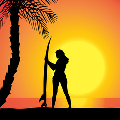 Vector silhouette of a woman with a surfboard.