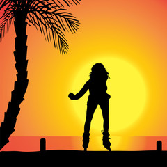 Vector silhouette of a woman.