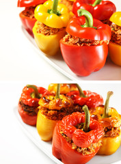Baked and unbaked peppers comparison