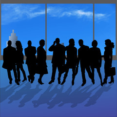 Vector silhouettes of various people.