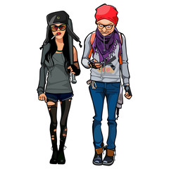 girl in torn tights and a guy, hipsters
