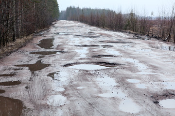 Broken asphalt road in woods with holes and puddles