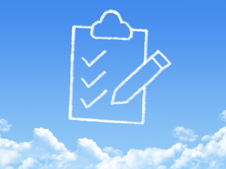 Clipboard icon cloud shape