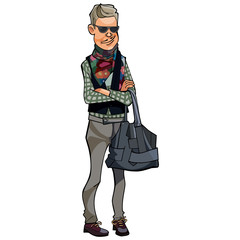 man with a colored scarf, hipster
