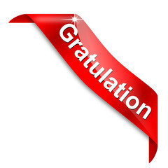 Red narrow corner with the word congratulations - vector