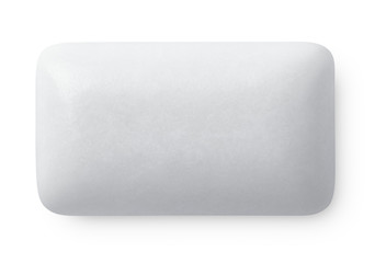 Single chewing or bubble gum on white with clipping path
