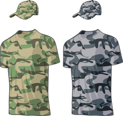 Military Shirts and caps templates. Vector