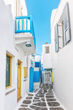 Fototapety Narrow lane in Mykonos old town