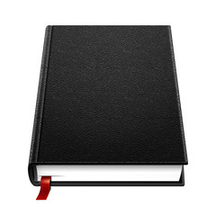 Blank Leather Hardcover Black Book With Bookmark