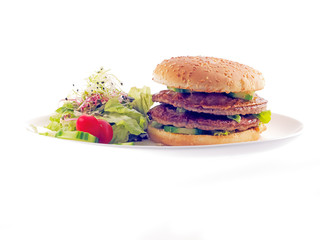 double beef burger with lettuce salad