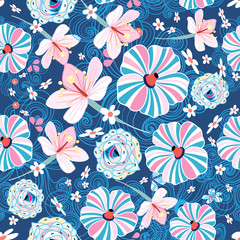 pattern with different colored flowers