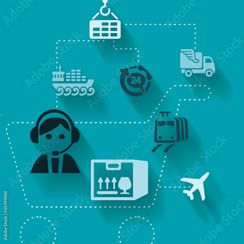 Abstract illustration with logistics activities